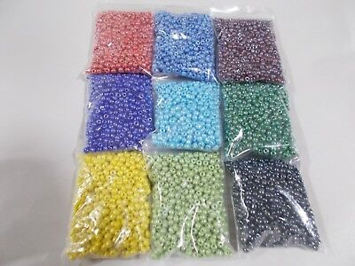 9 x 50g 3mm 8//0 Glass Seed Beads OPAQUE Red Black Yellow Colors 450g D26