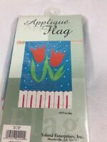Tulips Appliqué Flag 1978 Two Tulips Hand Crafted Vivid Color Nylon 28 X 40