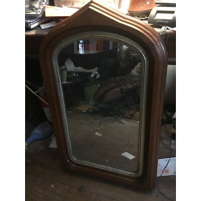 Vintage Vermont Oak Wood Frame Glass Mirror Oval Arch Top