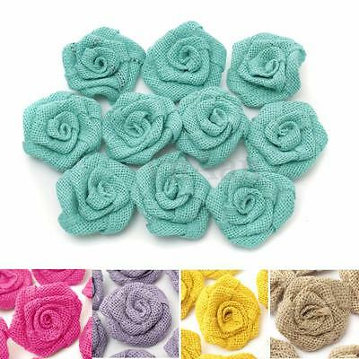 10x Vintage Handmade Burlap Flower Rose Wedding Shabby Hessian Jute Rustic Decor