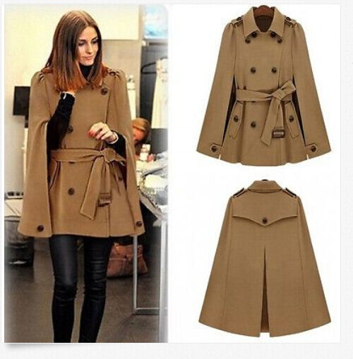 New Fashion Women Cape Batwing Double-breasted Cloak OverCoat Wool Poncho Belted