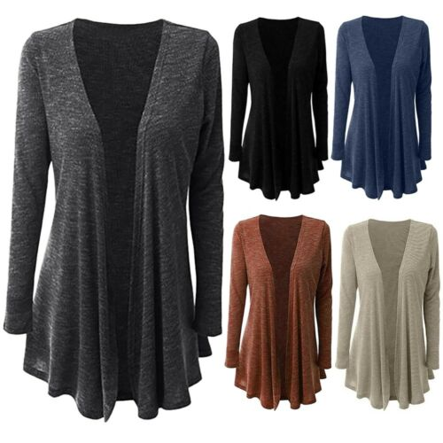 Women Fashion Plus Size Long Sleeve Pure Color Slim Fit Open cardigan Outwear 9