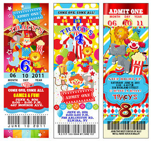 Image Is Loading 25 Circus Carnival Vintage TICKET Birthday Invitations CUSTOM