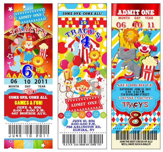 25 Circus Carnival Vintage TICKET Birthday Invitations CUSTOM Clown PERFORATED