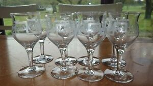 Etched Cordial Glasses Liqueur Stems Aperitifs glasses Elegant barware 8 3 oz