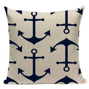 navy blue Cape Cod seaside Americana canvas beachhouse Star Cushion Cover