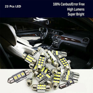 23PCS-LED-Blanco-coche-cupula-Interior-Kit-de-Luz-Lampara-Bombillas-De-Matricula-De-Espejo-De-Tronco