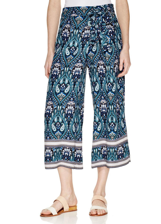 ELLA MOSS Turquoise Printed Gaucho Pants Size Sma… - image 1