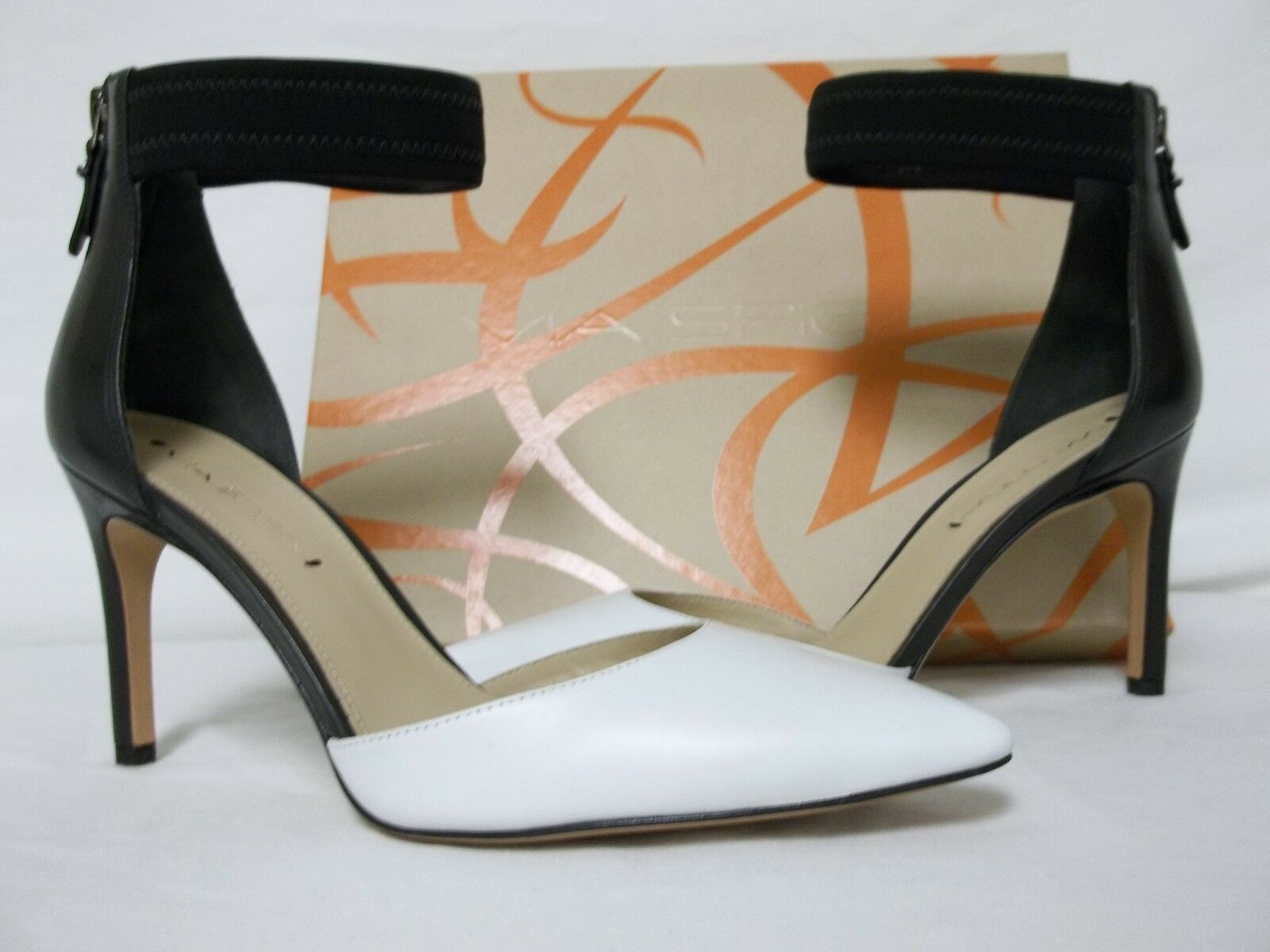 Via Spiga Size 8 M Ife Black White Leather Ankle Strap Heels New Womens Shoes