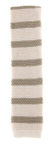 New-Luigi-Borrelli-Cream-with-Beige-Stripes-Knit-Tie-2-5-034-Wide