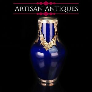 Antique-French-Sevres-Vase-Silver-Mounted-Paul-Milet-c-1900