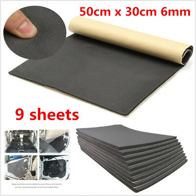 9Pcs Self Adhesive Closed Cell Foam Car Sound Proofing Insulation Szie 50X30cm