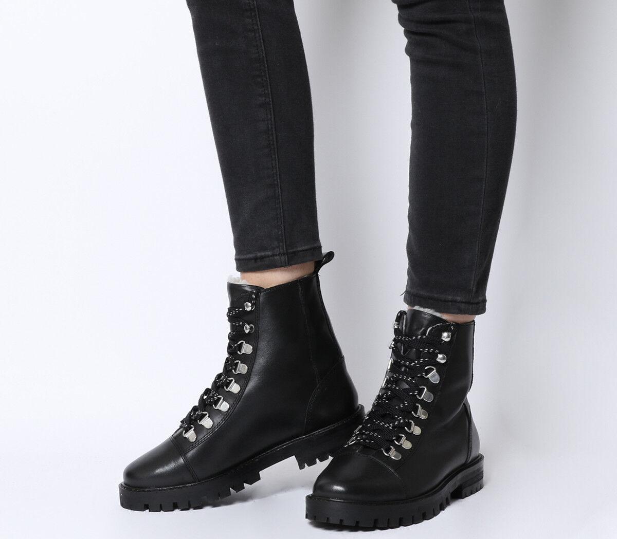 Mujer Mujer Mujer botas con Cordones Oficina Ansel Excursionista De Cuero Negro botas Forro de Piel Natural  la mejor oferta de tienda online