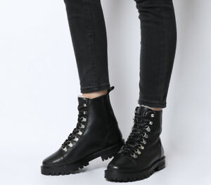 18cdcdc8 Details about Womens Office Ansel Hiker Lace Up Boots Black Leather Natural  Fur Lining Boots