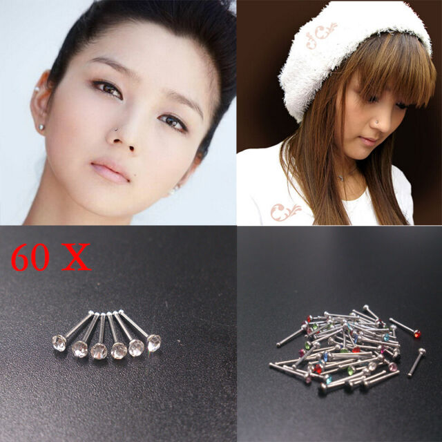 60X Wholesale Mixed Lot Color Rhinestone Nose Ring Studs Body Piercing Jewelry-S