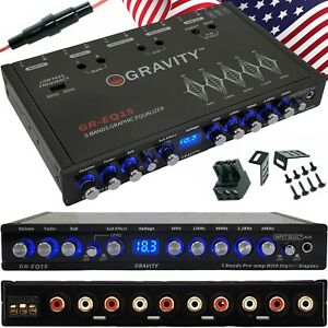 Rear Gravity EQ15 1//2 Din 5 Band Car Audio Equalizer EQ Front Sub Output 9V