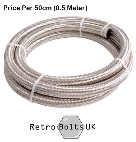 per 50cm 3 AN Stainless Steel Braided Brake hose Mk1 Mk2 Mk3 Cortina Anglia