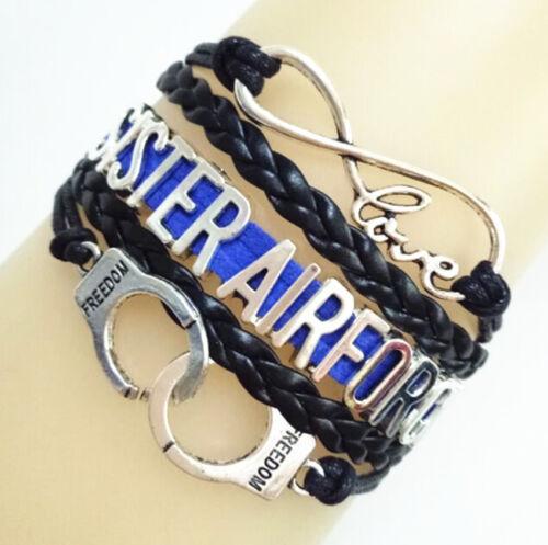 Infinity Amour soeur Airforce Menottes Freedom charms en cuir tressé Bracelet
