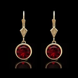 2-00-Ct-Red-Ruby-Bezel-Lever-back-Earrings-14k-Solid-Yellow-Gold-Round-Cut