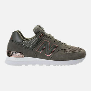 finest selection 7a664 24306 Image is loading NEW-BALANCE-574-FOLIAGE-GREEN-ROSE-GOLD-CASUAL-