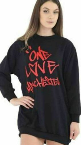 New Ladies One Love Manchester Printed Baggy Oversize Sweatshirt DressTop Tunic