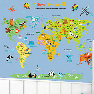 Kids World Map Vinyl Home Room Decor Wall Decal Sticker Bedrooms Removable Mural
