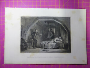 Antique-1880-Engraving-DISCOVERY-OF-ATTEMPTED-ESCAPE-CHARLES-I-FROM-CARISBROOKE