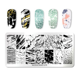 NICOLE-DIARY-Nail-Stamping-Plates-Rectangle-Nagel-Schablone-Stamp-Stencil-076