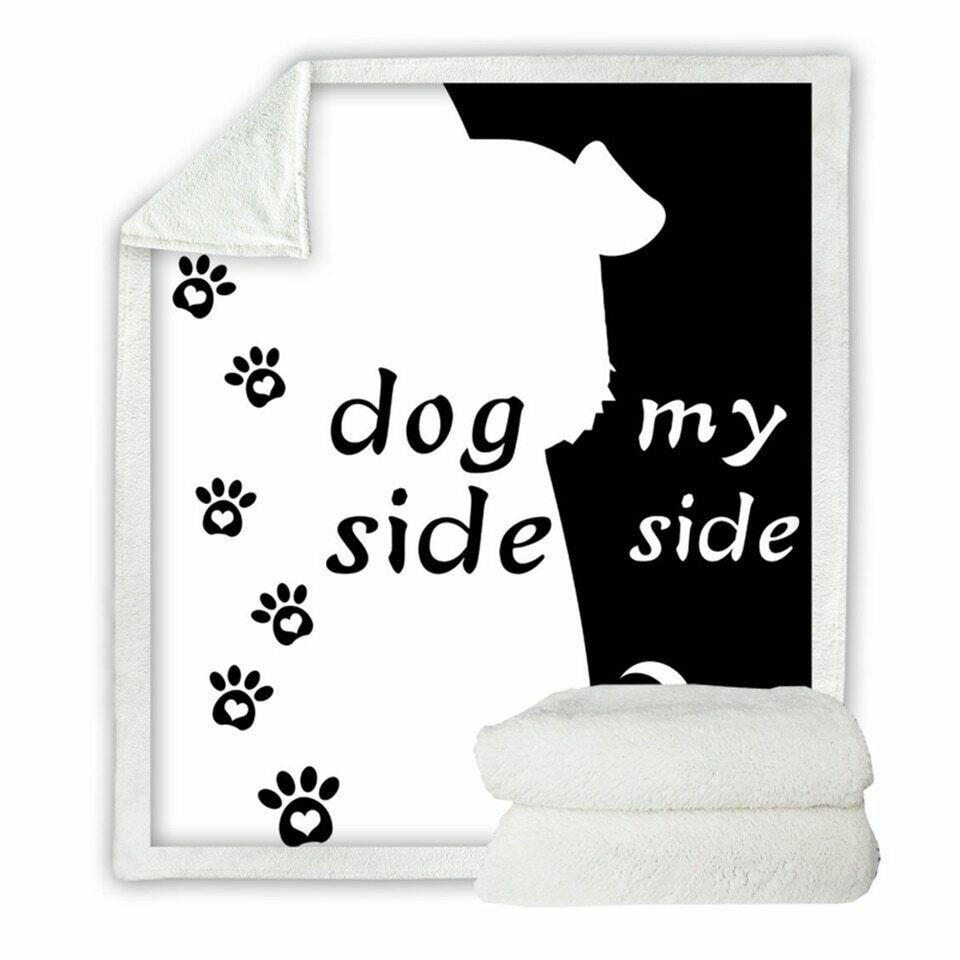 Dog Side My Side Pet Paw Print Sherpa Plush Throw Blanket Fleece Bed Sofa Couch