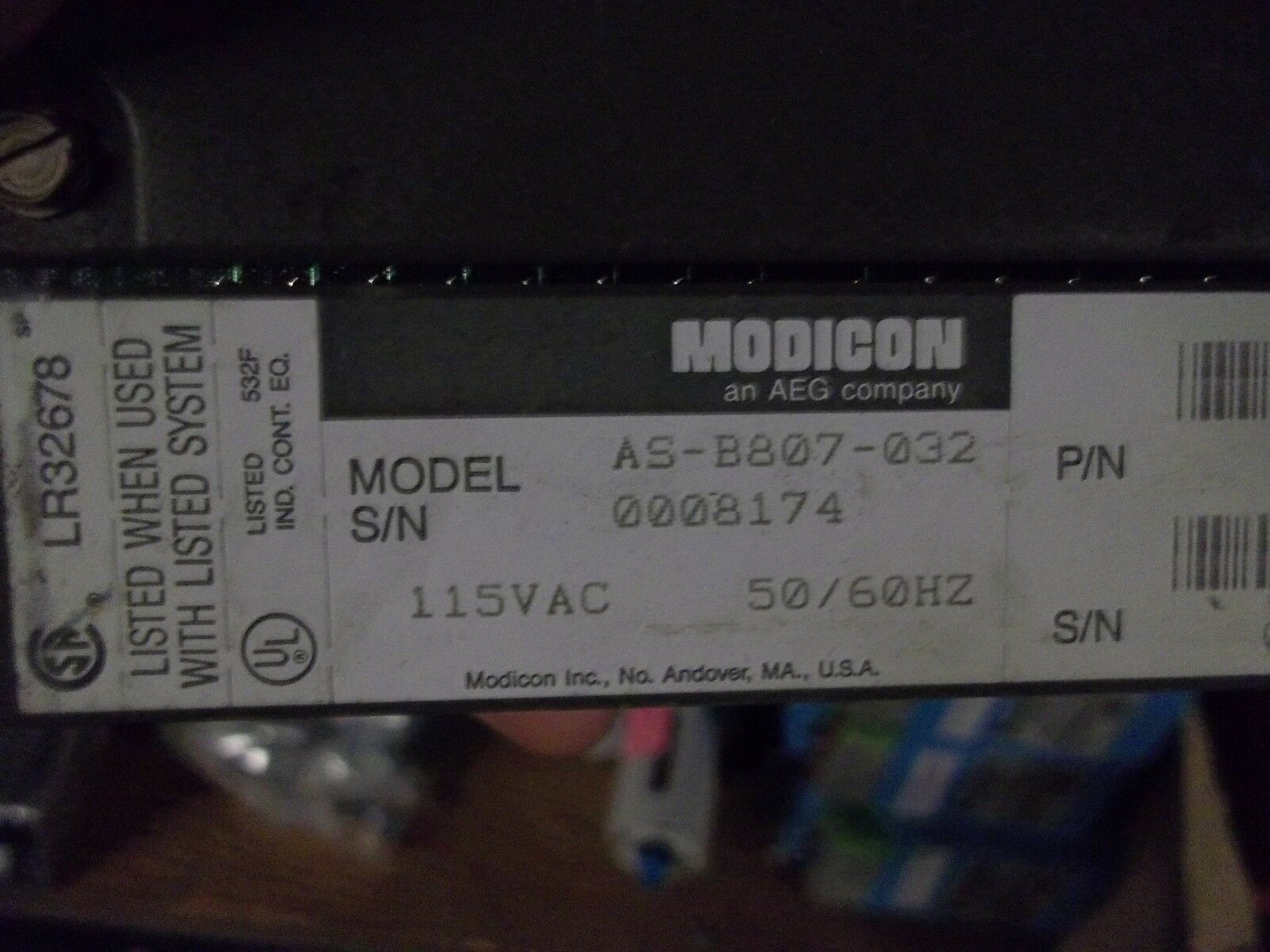 S2 GOULD  MODICON  AS-B807-032 INPUT PLC MODULE GOOD USED
