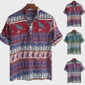 Summer-Mens-African-Clothing-Dashiki-Short-Sleeve-T-Shirt-Beach-Festival-Tee-Top