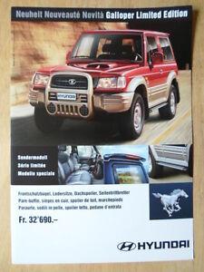 HYUNDAI GALLOPER Ltd Edn 1999 Swiss Mkt sales leaflet