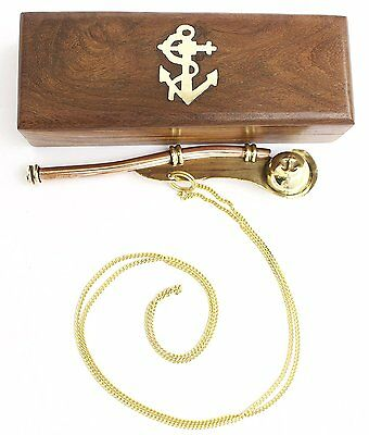 Brass Copper Boatswain Whistle w// Box  Bosun Call Pipe Nautical Maritime Whistle