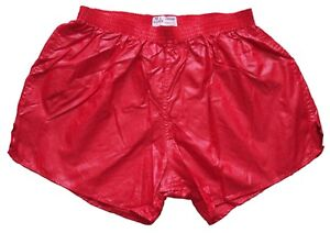 Red-Shiny-Nylon-Shorts-by-Soffe-Size-Large