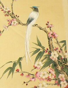 Asian-Paradise-Fly-Catcher-Painting-Pink-White-Flower-Tree-Silk-Lace-6484