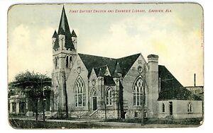 Gadsden-Alabama-AL-FIRST-BAPTIST-CHURCH-amp-LIBRARY-Postcard