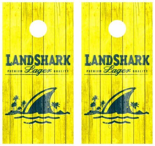 Details about  /Landshark Barnwood Cornhole Board Wraps FREE LAMINATION #3717
