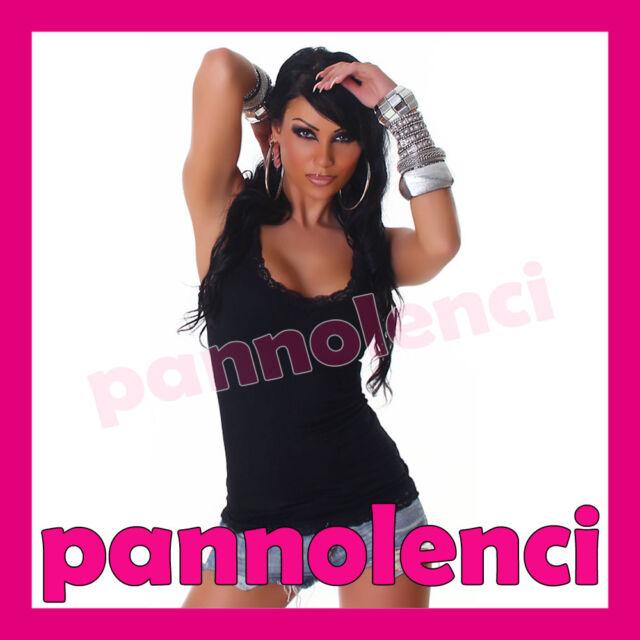 Canotta canottiera maglia donna jersey top PIZZO sottogiacca maglietta AS-4181