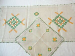 2 Doilies Dresser Scarf Runner Vintage 1940's Open Weave Cut Work w/Crochet Edge