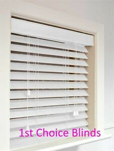 Details About Made To Measure Deluxe Sunwood White Wooden 50mm Wood Venetian Window Blinds