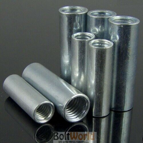 THREADED SLEEVE ROD BAR STUD ROUND CONNECTOR NUT BRIGHT ZINC LONG NUTS M4 TO M20