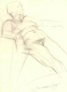 1995 Graphite Drawing - Prone Female Nude