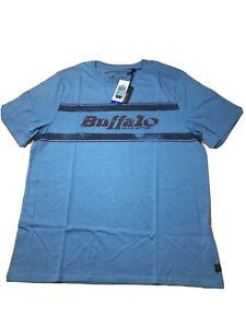 Buffalo-David-Bitton-Mens-Blue-Graphic-Tee-T-Shirt-Crew-LARGE-NWT
