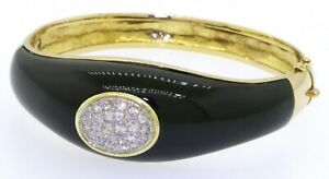 Heavy-14K-gold-80CTW-diamond-amp-60-75-X-19-8mm-onyx-hinged-bangle-bracelet