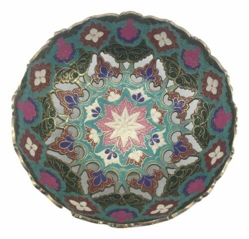 Alzatina centrotavola in ottone colorato fiori vassoio contenitore portafrutta