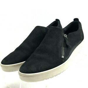 2b24c14119 Details about Ecco Women's Soft 5 Zip Black Suede Slip On Sneaker Sz 9