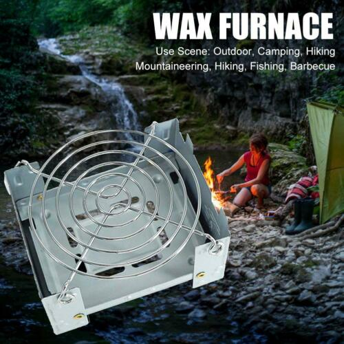 Portable Camping Foldable Wax Stove with Stainless Steel Disc Wire Bracket