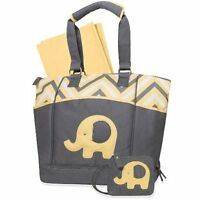 Baby Essentials Elephant Porta-Bed Diaper Bag - Zig Zag Yellow
