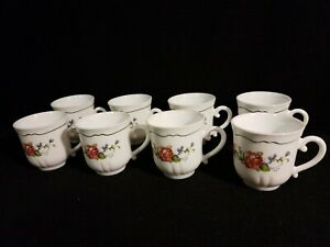 Set-of-8-Arcopal-France-Provincial-Rim-Cups-White-W-Red-Yellow-amp-Blue-Flowers