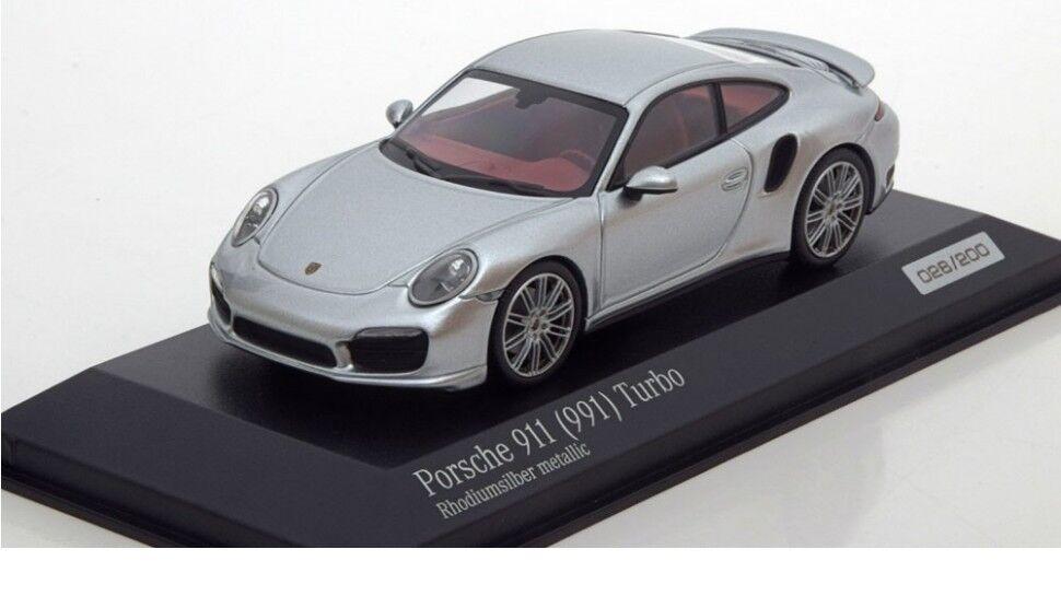 Minichamps Porsche 911 (991) Turbo Rhodium-Silver Model Car 1 43 Genuine New